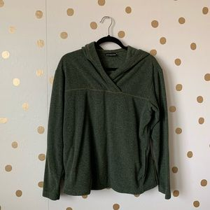 Patagonia Green Fleece V-Neck Hoodie Pullover